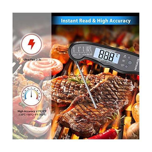 NIXIUKOL Termometro Cucina Digitale Lettura Istantanea Termometro Barbecue con 2 Acciaio Inossidabile Sonda, Display LCD… 3