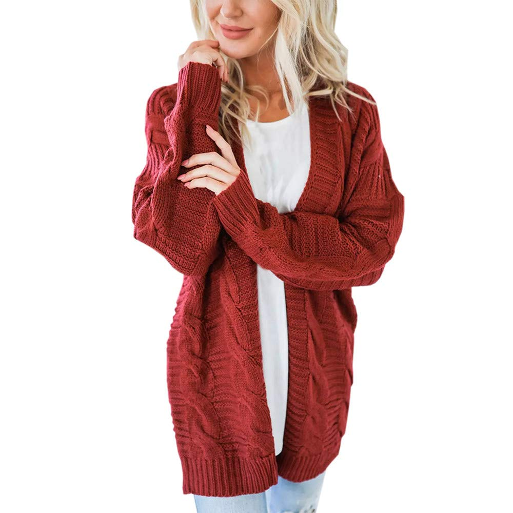 Yemenger Women's Open Front Cardigan with Pocket Casual Cable Knit Long Sleeve Sweater Plus Size Coat Jacket Orange by Yemenger_women tops