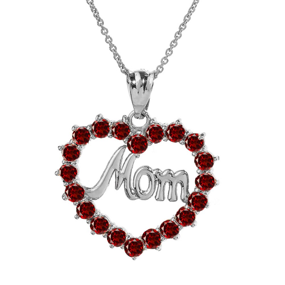 Dazzling Sterling Silver MOM Open Heart Red January Birthstone Pendant Necklace 18