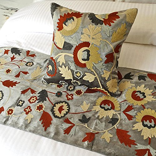 Velvet Crewel Pillow (The HomeCentric Grey Bed Runner, 18 x 90 inches King Size Bed Scarf in Grey Velvet with Crewel Embroidery - Blooming Petals)