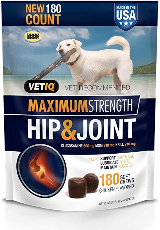 VetIQ Maximum Strength Hip & Joint, 180 Chicken Flavored Soft Chews for Dogs, 22.2 oz (Pack of 3)