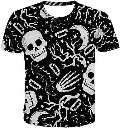 LGLZKA Camiseta con Estampado De Calavera Digital En 3D para ...