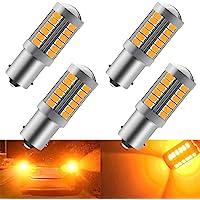 4pcs Amber 1156 BA15S P21W 5630 33SMD Car LED Bulbs 900LM Super Bright LED Front and Rear Turn Signal Light 12-30V 3.6W