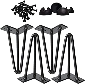 "Omoi Hardware 12 inch Hairpin Legs, 3 Rods, 1/2"" Thick, Solid Steel Metal, Black, Set of 4, Floor Protectors & Strong Screws for Nightstand, Coffee Table"