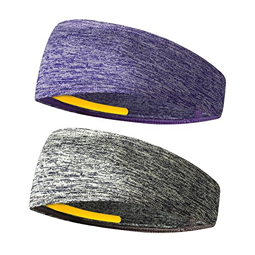 Headbands Sports Sweatbands Mens Womens - Non Slip Design & Moisture Wicking - Wide Athletic Elastic Head Sweatbands for Yoga, Work Out, Running, Cycling, Hiking, Crossfit, Tennis
