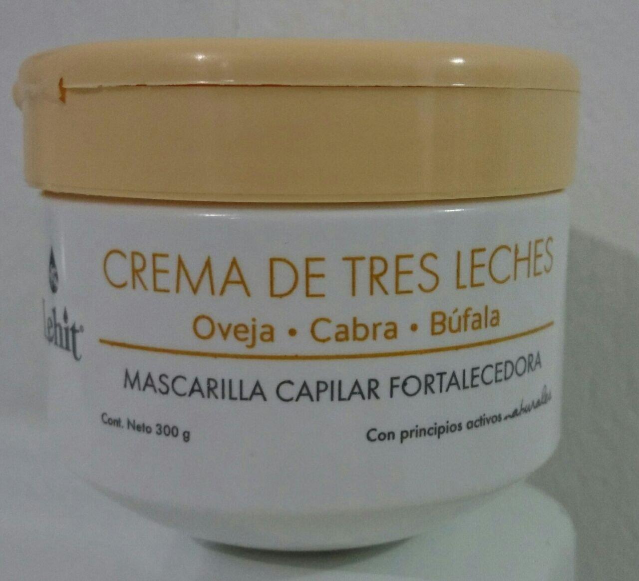 MASCARILLA CAPILAR FORTALECEDORA CREMA DE TRES LECHES - OVEJA, CABRA, BUFALA PARA EL CABELLO