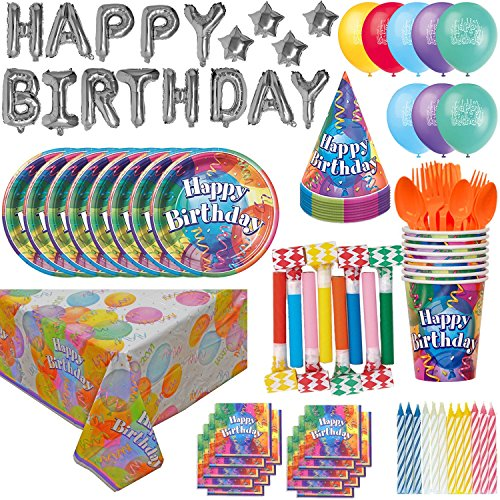 Birthday Party Supplies and Decorations for 8: 100 Pieces. Plates, Cups, Cutlery, Napkins, Tablecloth, Balloon Birthday Banner, Birthday Hats, Balloons, Blowouts, (Birthday Tablecloth)