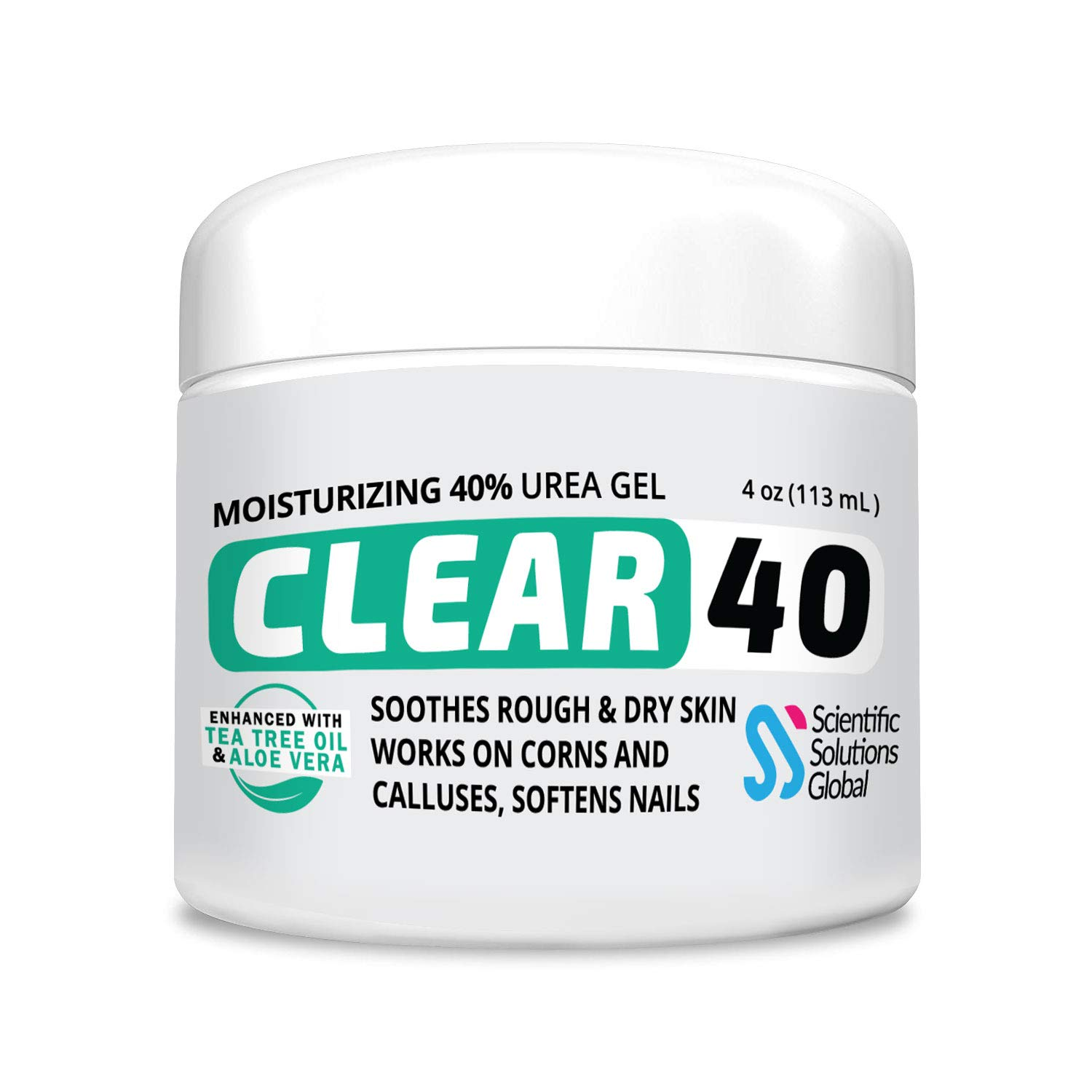 CLEAR 40, 40% Urea Gel, 4 oz w/ Tea Tree & Coconut Oil, Aloe Vera Extract, Callus & Corn Remover Moisturizes & Softens Cracked Heels, Feet, Elbows, Hands, Nails, Re-hydrates skin better than creams