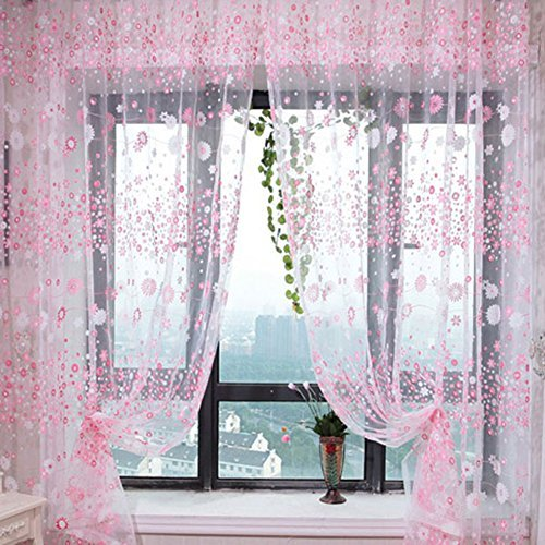 Small Flower Tulle Voile Door Window Curtain Pink Drape Panel Sheer Scarf Valances For Bedroom Bathroom