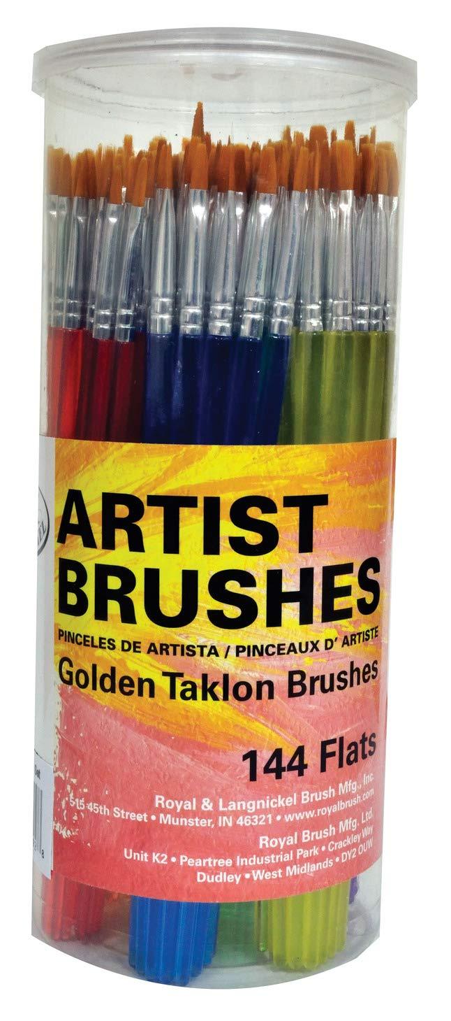 120 Piece Royal /& Langnickel Classroom Assortment Rounds /& Flats Golden Taklon Brush