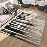 Irregular Geometry Modern Large Carpets Nordic Area Rug Living Room Bedroom Dining Room 63 by 91 inch- MAXYOYO Ultra Soft Modern Black White Grey Carpet Rug