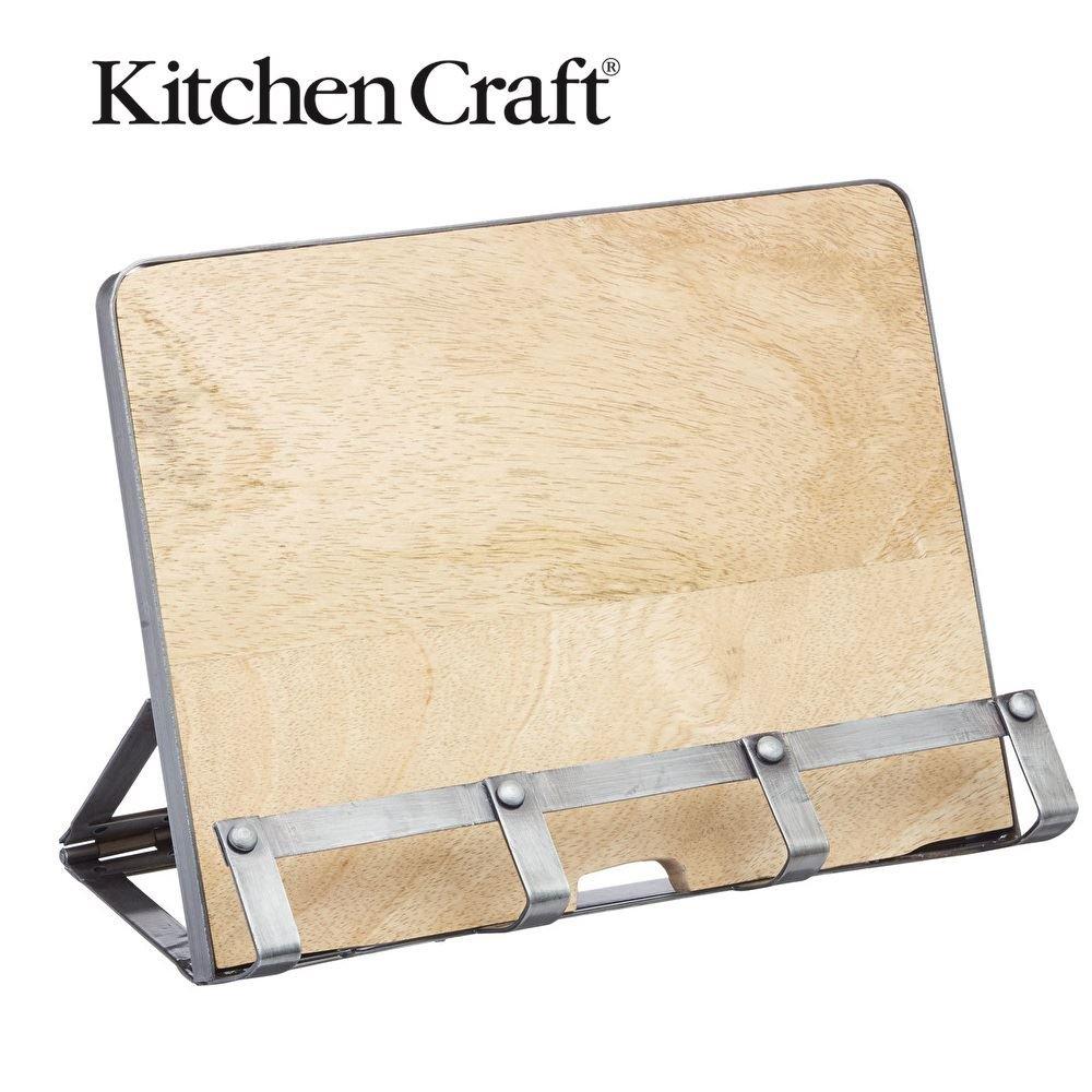 Kitchencraft Industrial Kitchen Metal / Wooden Cookbook Stand & Tablet Holder, by Kitchen Craft