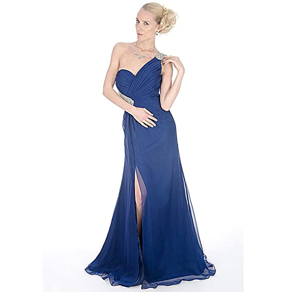 Stunning Midnight Blue Chiffon Backless Full Length Evening Prom Dress UK NEXT DAY DELIVERY (UK14
