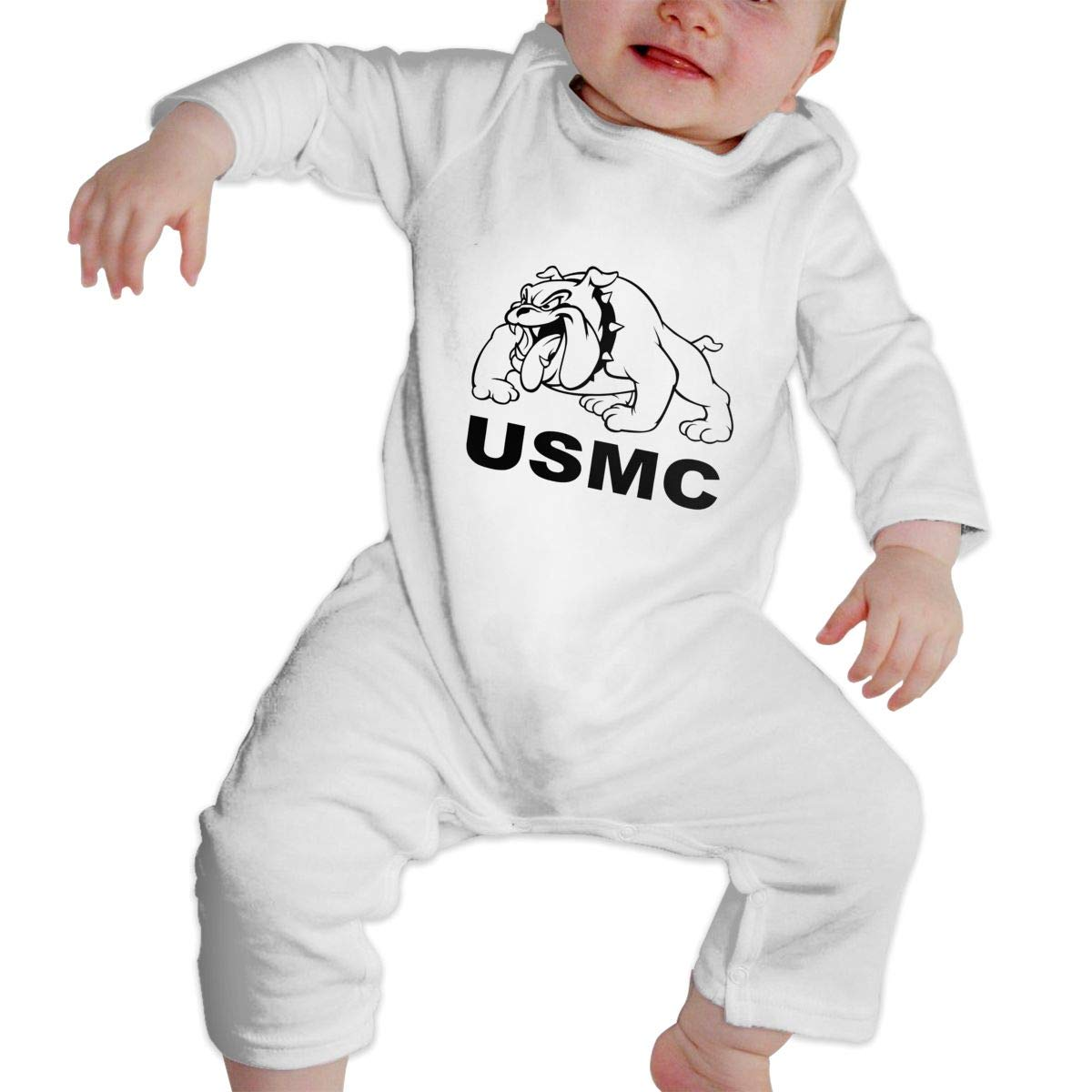 MiNgosRY Marine Corps Bulldog Newborn Baby Long Sleeve Bodysuits Rompers Outfits
