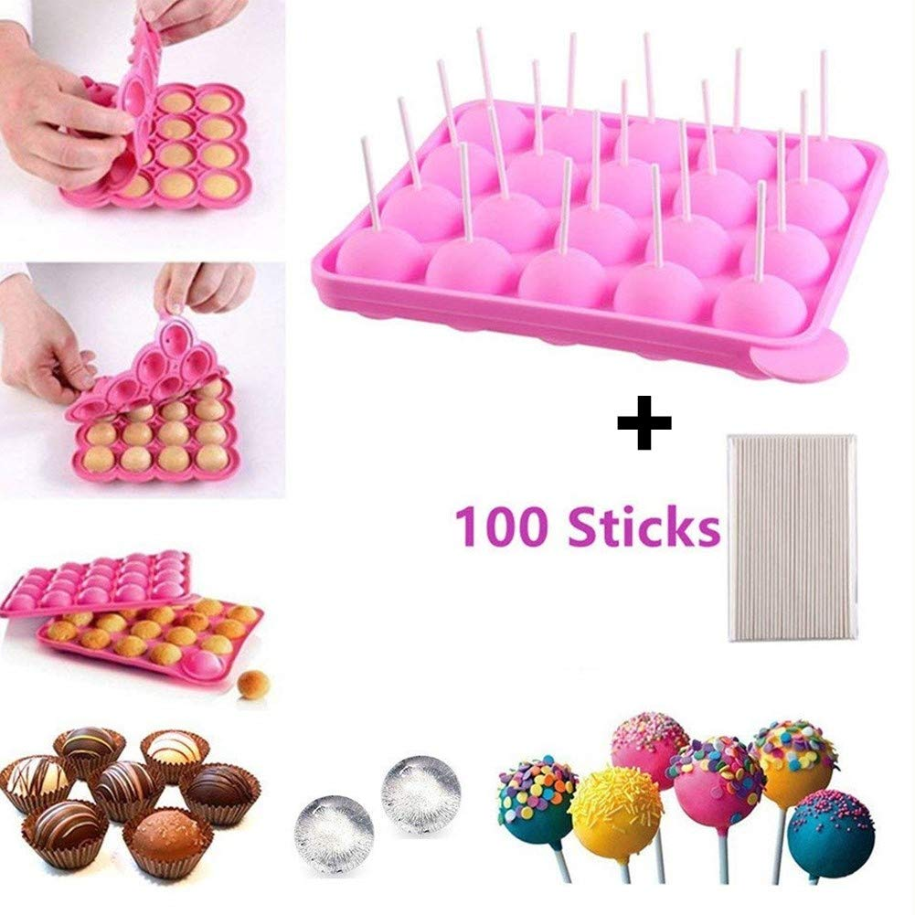 Junxave BPA Free Pop Cake Moulds & Ice Cube Trays + 100 Sticks Silicone Lollipop Candy Gumdrop Jelly Molds- Pink