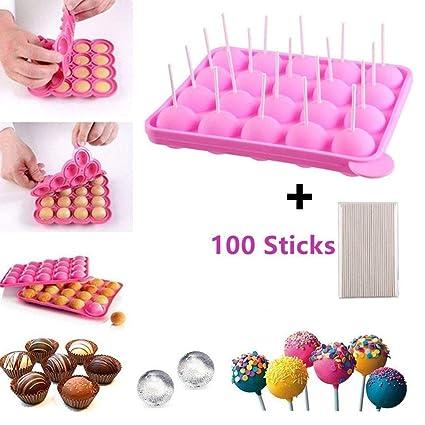 Junxave - Moldes para Tartas sin BPA + 100 Palos de Silicona para Cubitos de Hielo