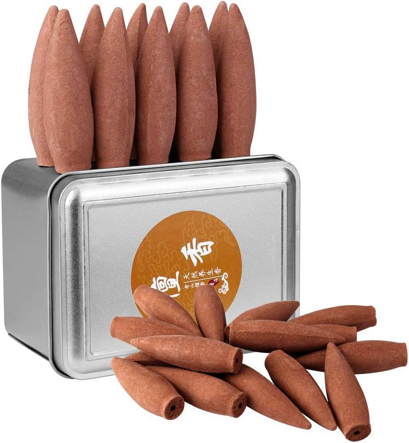 Conos de incienso Zingso de duración de combustión extra grande, aroma de sándalo natural, efecto cascada de humo (30 minutos 16 piezas de aroma de sándalo)