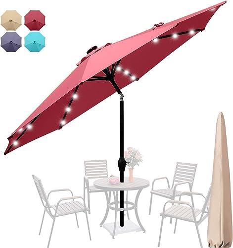Quictent 9Ft Patio Umbrella 3 Years Non-Fading Outdoor Garden Table Canopy Market Umbrella Deck Pool Backyard