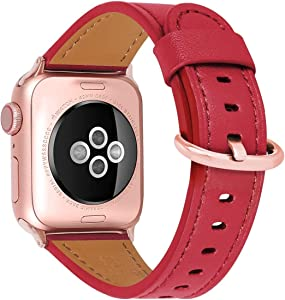 HUAFIY Compatible iWatch Band 38mm 40mm, Top Grain Leather Band Replacement Strap iWatch Series 6/ 5/ 4/ 3/2/1,SE,Sport, Edition (red band+rose gold buckle, 38mm40mm)