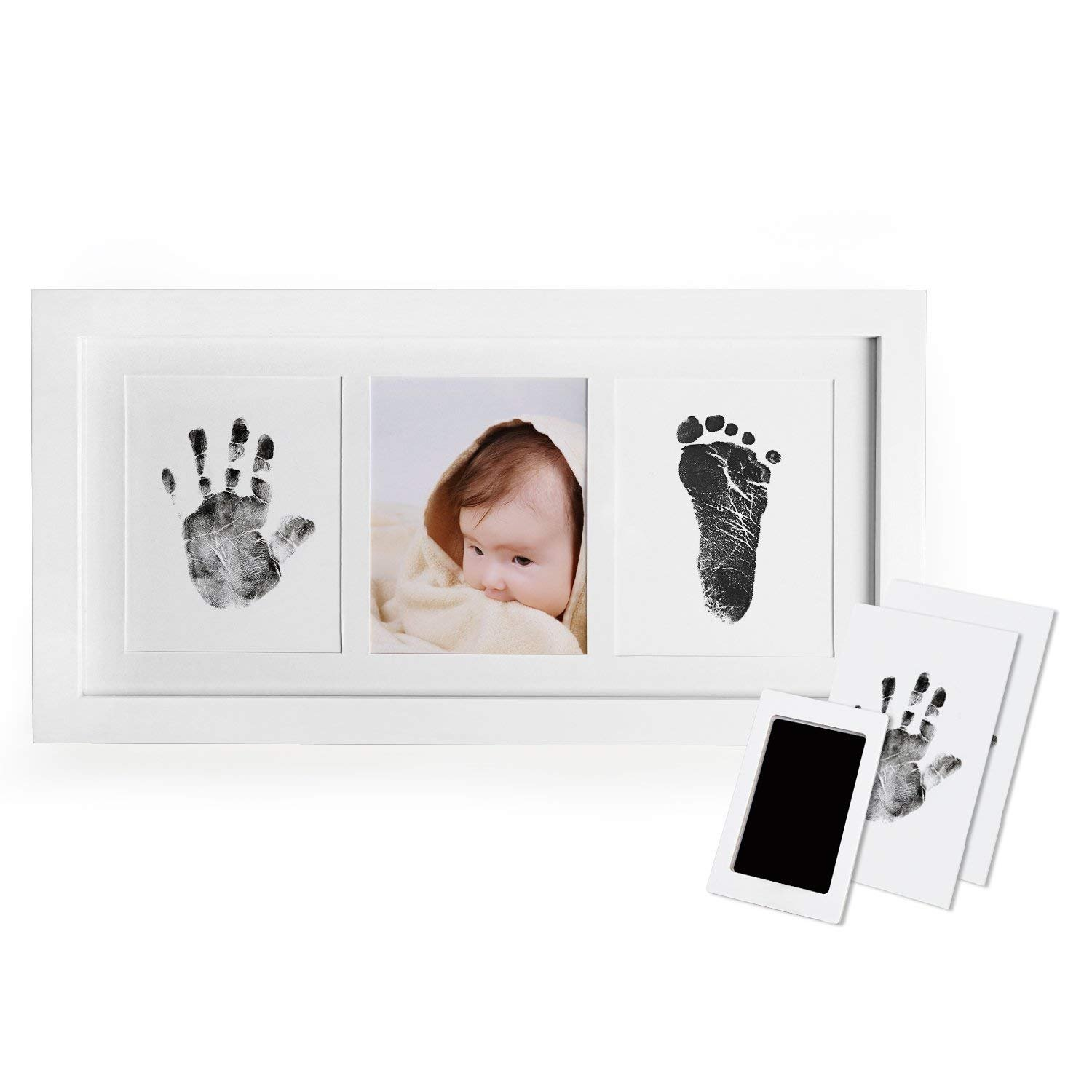Upala Baby Handprint Footprint Photo Frame Kit Newborn Boys Girls, Babyprints Paper Clean Touch Ink Pad to Create Baby's Prints, Amazing