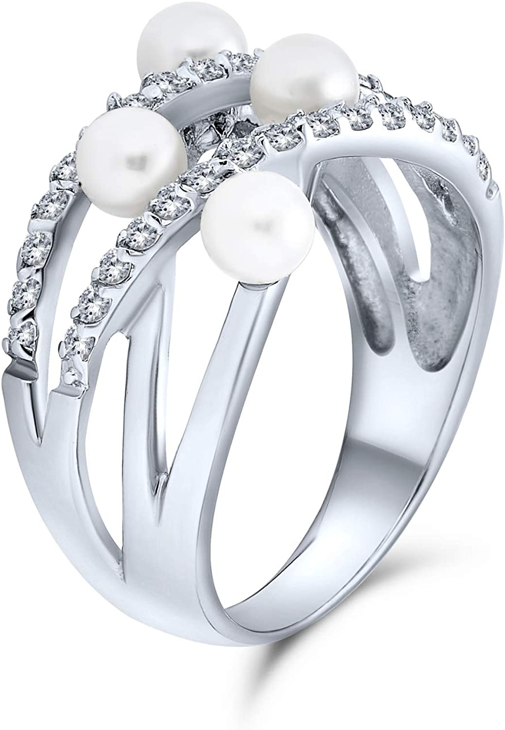 Stacking Style Fashion Statement Cocktail Crossover X Criss Cross White Simulated Pearl Wide Band Ring For Women .925 Sterling Silver