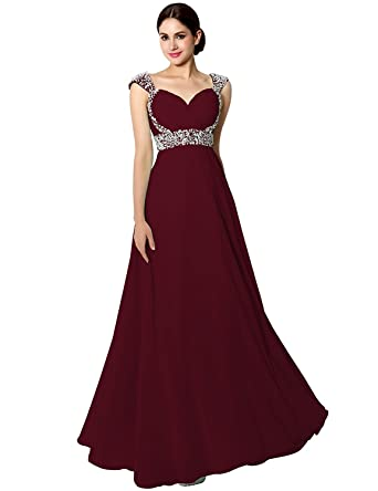 f2b71dac00 Sarahbridal Women's Long Chiffon Bridesmaid Dress Beaded Prom Evening Gown  with Cap Sleeves Burgundy US2