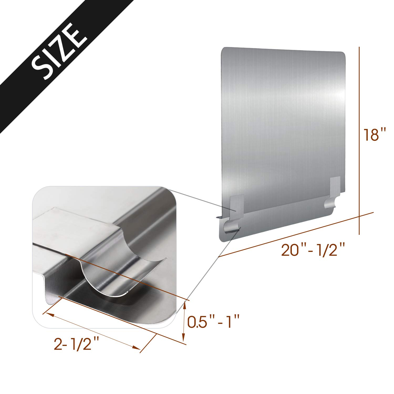 Pack of 2 Zipcase 2 packs Stainless Steel 20-1//2 W x 18 H Universal Side Splash for Commercial Fryers fitting 0.5-1 Side