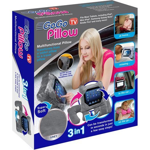 As Seen on TV GoGo Pillow Tablet Holder, Gray