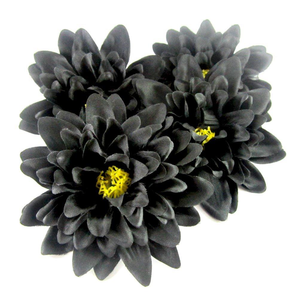 ( 4 )ブラックシルクDahlia Flower Heads – 4