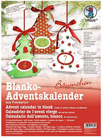 Ursus 17800003 Advent Calendar Blank Trees 300 GSM Material for 24 Boxes