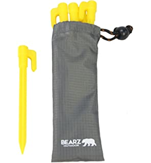 Plastic Stakes by BEARZ Outdoor. Small Tarp Stakes  Tent Spikes for Sand 5da07c3b99e