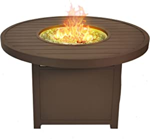 Bluegrass Living GN3R111S 42 Inch Outdoor Round Aluminum 50,000 BTU Propane Fire Pit Table with Crystal Glass Beads and Fabric Cover, Silver