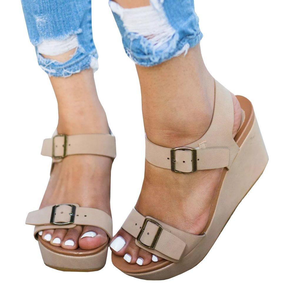 Nulibenna Womens Wedge Sandals Peep Toe Double Buckle Strap Platform Heel Shoes