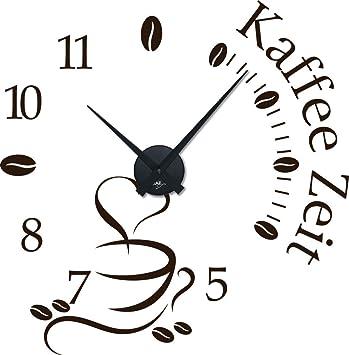 wanduhr kuche graz design 800465 bk 080 wandtattoo uhr mit uhrwerk ka 1 4 che kaffee zeit kaffeetasse kaffeebohnen schwarz keramik