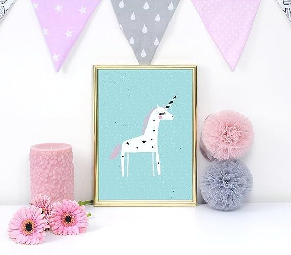 Unicorn poster pastel unicorn print nursery print wall art kids room decor
