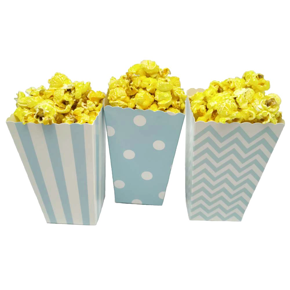 JCX Paper Popcorn Bags, Mini Movie Theater Party Paper Bags, 36 Pieces (Blue)