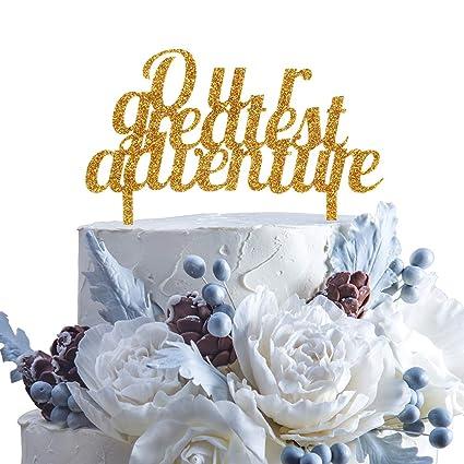 Amazon Our Greatest Adventure Gold Glitter Wedding Acrylic Cake