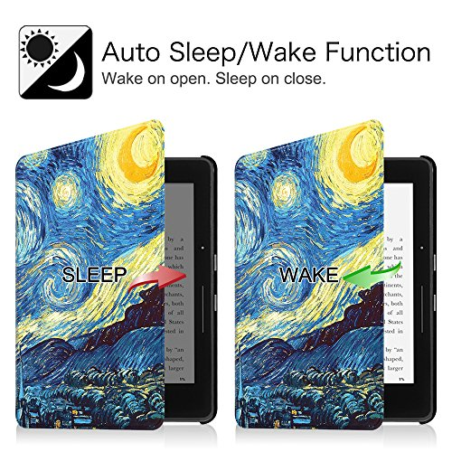Fintie Case for Kindle Voyage - [The Thinnest and Lightest] Protective PU Leather Slim Shell Cover with Auto Sleep / Wake for Amazon Kindle Voyage (2014), Starry Night by Fintie (Image #2)