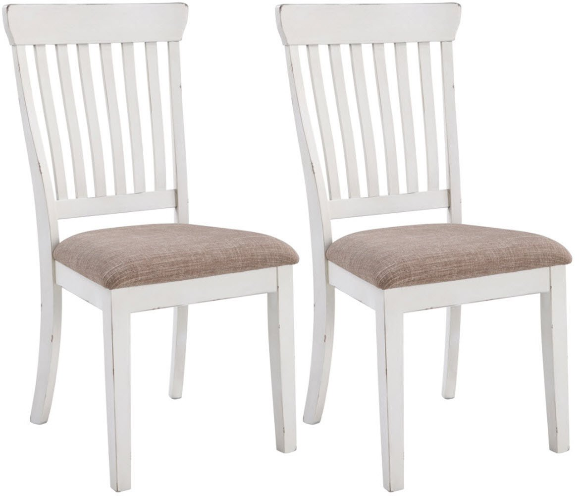 Signature Design By Ashley - Danbeck Dining Upholstered Side Chair - Set of 2 - Casual Style - Chipped White - WHITE DINING ROOM CHAIR: Turn up the farmhouse flair with this classic dining chair, outfitted with vintage-inspired appeal. The rake back styling and cushioned seat add tons of comfort at dinner time HANDSOMELY CRAFTED: Made of wood with a cushioned seat wrapped in polyester tweed-textured upholstery COUNTRY CHIC STYLE: Light neutrals exude soft farmhouse style, all while making matching with your apartment, kitchen or dining room decor easier than ever - kitchen-dining-room-furniture, kitchen-dining-room, kitchen-dining-room-chairs - 61k8ROZKQ7L -