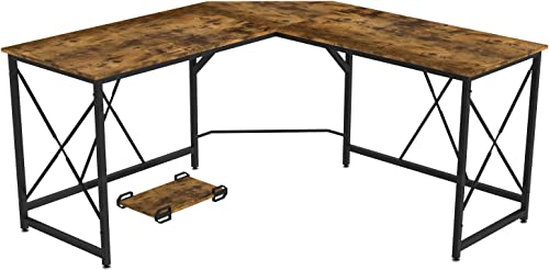 IRONCK Industrial L Shaped Computer Desk 59 , Corner Gaming Desk Table, Large Office Workstation for Home Office, with Eco-Friend MDF Board, Easy Assembly