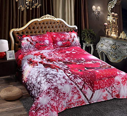 Alicemall 3D Red Christmas Bedding Santa Claus Riding Sleigh in Red Sparkling Stars Tencel Cotton Blend 4 Pieces Duvet Cover Set, Full Size Kids' Bedding (Full, Santa Claus) 3 Piece Bedroom Sleigh Bed