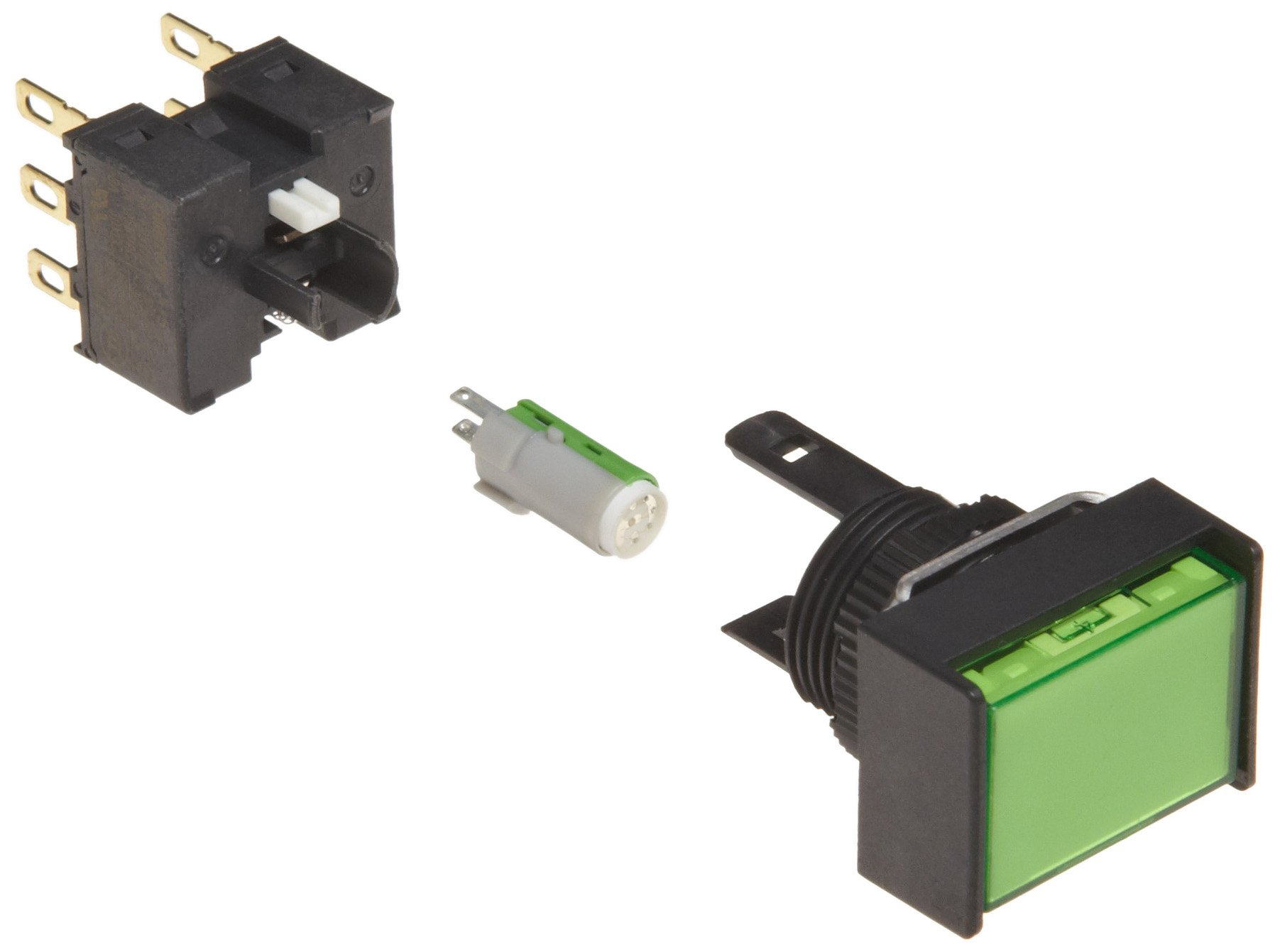 Omron A16L-JGA-24D-2 Two Way Guard Type Pushbutton and Switch, Solder Terminal, 16mm Mounting Aperture, LED Lighted, Alternate Operation, Rectangular, Green, 24 VDC Rated Voltage, Double Pole Double Throw Contacts