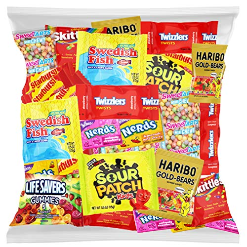 Candy Party Mix Bulk Bag of Skittles Swedish Fish Nerds Haribo Gummy Sour Patch Twizzlers Starburst Mike and Ike and more! by Variety Fun Net wt (48 oz)]()