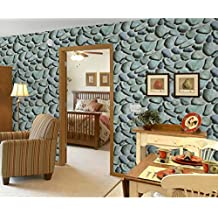 """3D Rock Stone Wallpaper Cobblestone Shaped Coffee Shop And Living room Background Wallcoverings 20.8"""" x 393.7"""""""