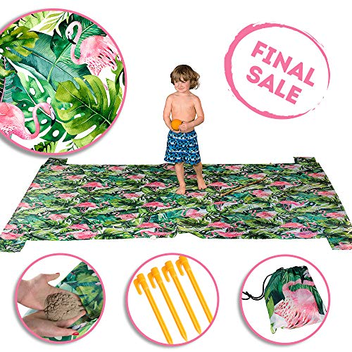 Xtralix Sand Blanket for Beach-Large Portable Festival Blanket-Great Outdoor Picnic Mat for Camping-Lightweight Pocket Sand Free Blanket with Anchors and Pockets-Portable Picnic Blanket