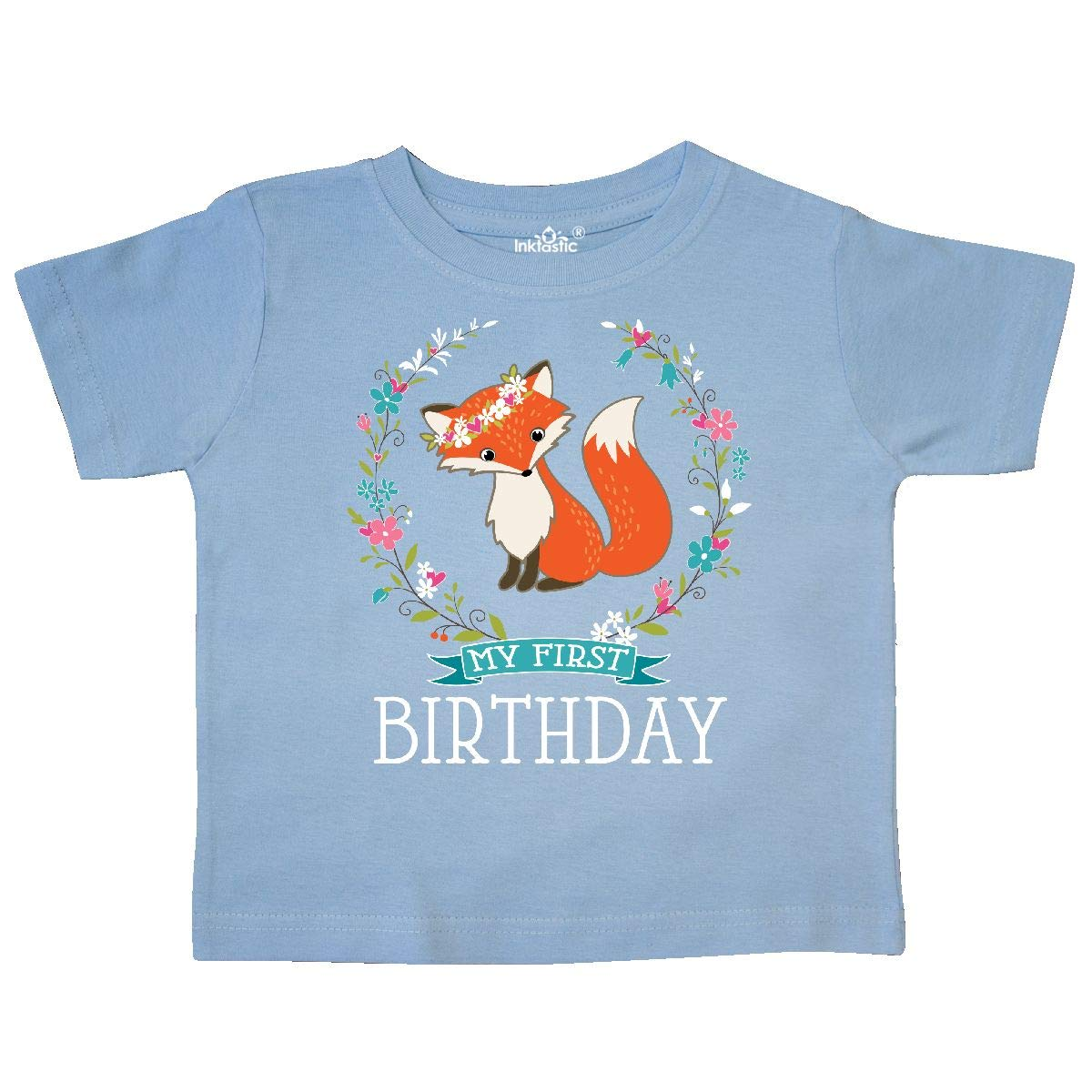 inktastic First Birthday 1 Year Old Girl Fox Toddler T-Shirt
