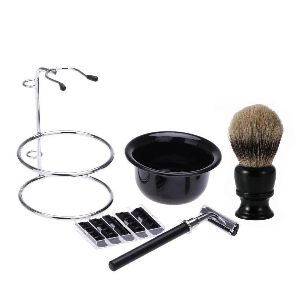 Anifer brocha afeitar Set de afeitado 100% hecho a mano para hombres. Profesional de la barba del pelo del tejón de la barba de afeitar de afeitar de afeitar negro tazón de fuente de soporte de acero inoxidable reemplazo de la maquinilla de afeitar