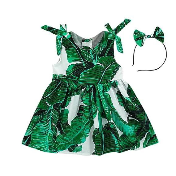 OHQ Vestido de playa con estampado de hojas de niñas bebé Vestido con tirantes de fiesta Vestido de playa Vestido de tirantes vestidos de niña adolescente: ...