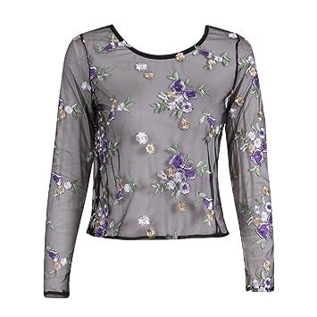 Guiran Mujeres Malla Perspectiva Blusa Transparente Camisetas De Manga Larga Flores Bordados Tops Clubwear como La