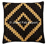 Set Of 5 Indian Vintage 18 x 18'' Living Room Decorative Jute Rug Cushion Cover, Handmade Kilim Pillow Sham For Sofa -Floor-Pillow Throw Bohemian Pillow Cases